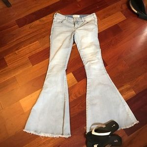 Free people light wash fringed bell bottoms 28